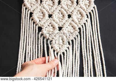 Decorative Handmade Stylish Cotton Macrame Decoration, Hobby Interior For Hanging On Black Backgroun