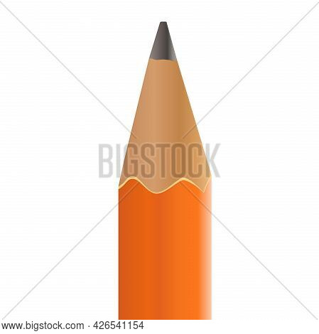 Tip Of Sharp Pencil Symbol Or Icon, Vector Illustration