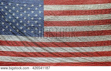 Woven Or Stitched Fabric Pattern American Flag