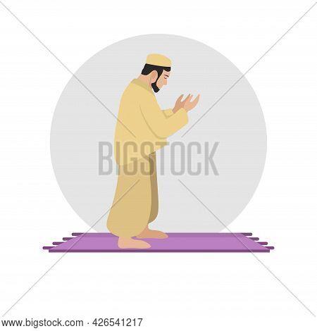 Muslim Man Prays. Namaz Flat Illustration. Islam Icon
