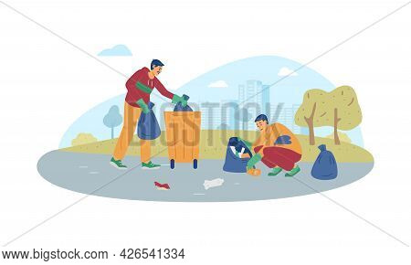 Cleaning Volunteers Team Collecting Garbage, Flat Vector Illustration Isolated.