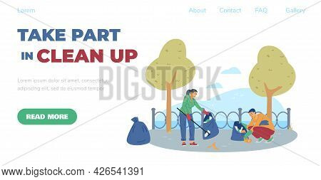 Website For Volunteering Altruistic Cleanup Activity, Flat Vector Illustration.