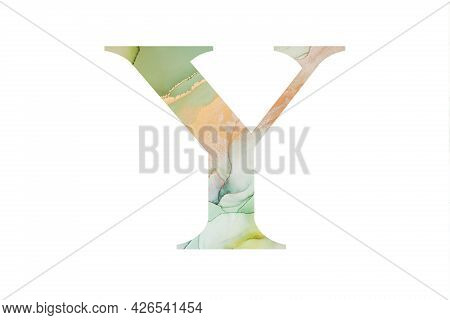 Initial Letter Y With Abstract Hand-painted Alcohol Ink Texture. Isolated On White Background. Illus