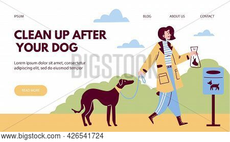 Clean Up After Dog Web Banner With Woman And Her Pet, Flat Vector Illustration.