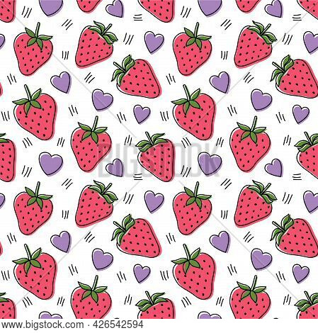 Seamless Pattern With Strawberries And Hearts, Vector Illustration