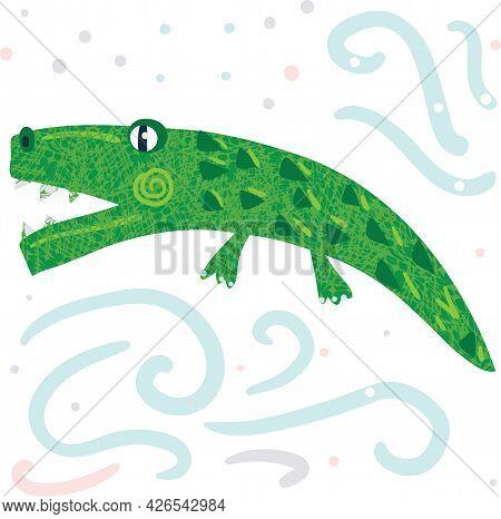 A Green Simple Cute Alligator Vector Illustration