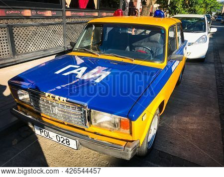Batumi, Georgia -9th July, 2021: Lada Riva Type Soviet Police Vehicle Standing On Display In Street
