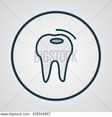 Bad Tooth Icon Colored Line Symbol. Premium Quality Isolated Caries Element In Trendy Style.