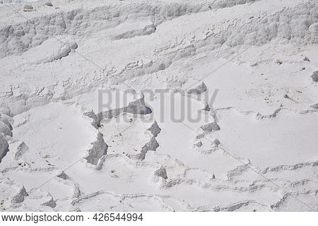 A Cascade Of Terres Formed By Travertine On The Side Of A Mountain. Pamukkale.