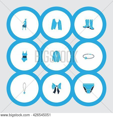 Fashionable Icons Colored Set With Cowboy Boots, Underpants, Necklace And Other Swimwear Elements. I