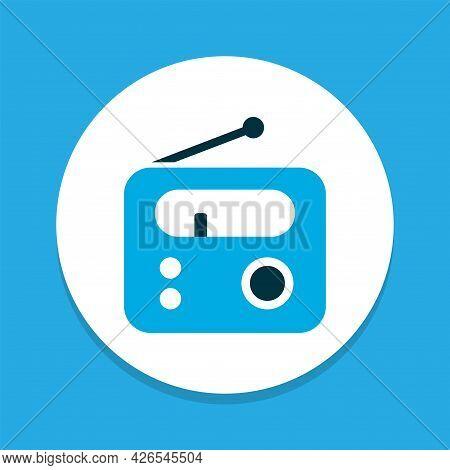 Radio Icon Colored Symbol. Premium Quality Isolated Tuner Element In Trendy Style.