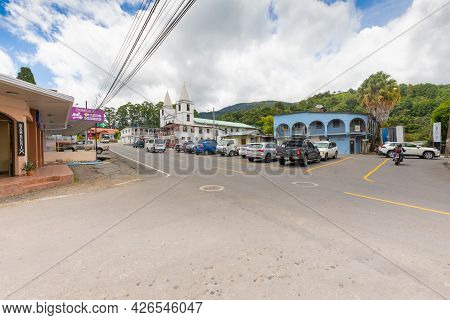 Panama Boquete Town, July 8, Panoramic View Of The Old Town And The Church. Shoot On July 8, 2021