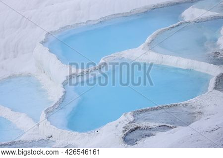 Natural Travertine Pools And Terraces In Pamukkale. Cotton Castle In Southwestern Turkey. Pamukkale