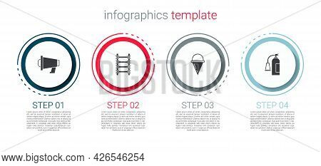 Set Megaphone, Fire Escape, Cone Bucket And Extinguisher. Business Infographic Template. Vector