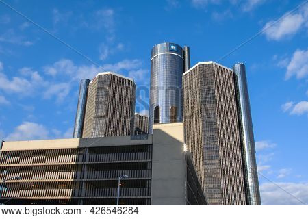 DETROIT, MICHIGAN- AUGUST 22, 2011: The Renaissance center in Detroit is the tallest building in entire Michigan with 222 meters tall.