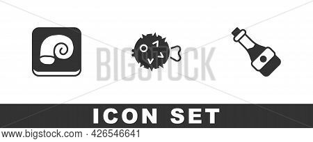 Set Octopus On A Plate, Fish Hedgehog And Soy Sauce Bottle Icon. Vector
