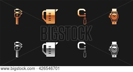 Set Calliper Or Caliper And Scale, Measuring Cup, Micrometer And Wrist Watch Icon. Vector