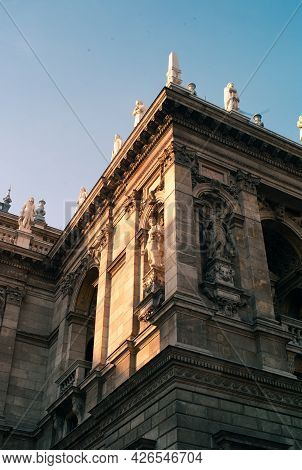Muse Sculptures On The Hungarian State Opera Facade In Budapest - Melpomene By Brestyansky Bela And