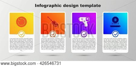 Set Radius, Laser Distance Measurer, Digital Thermometer And Diameter. Business Infographic Template