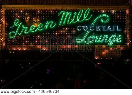 Chicago, Illinois, United States - July 25 2009: Green Mill Cocktail Lounge And Jazz Club Neon Sing
