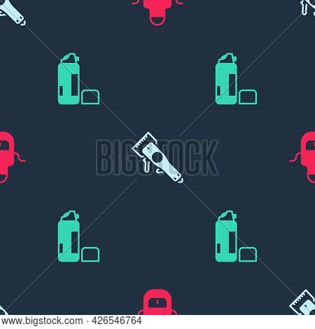Set Barber Apron, Electrical Hair Clipper And Shaving Gel Foam On Seamless Pattern. Vector