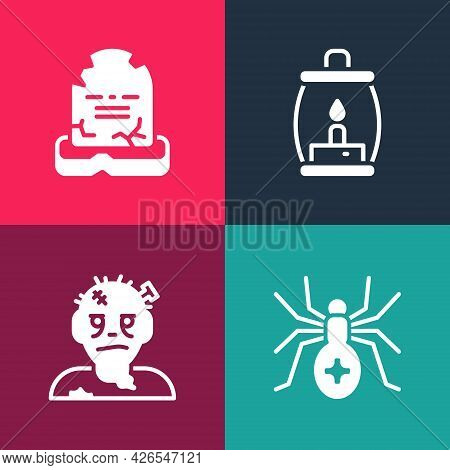 Set Pop Art Spider, Zombie Mask, Camping Lantern And Tombstone With Rip Written Icon. Vector