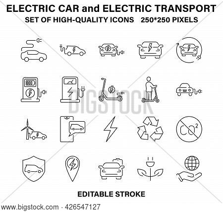 A Set Of Simple, High-quality Linear Icons About Electric Cars And Electric Vehicles.