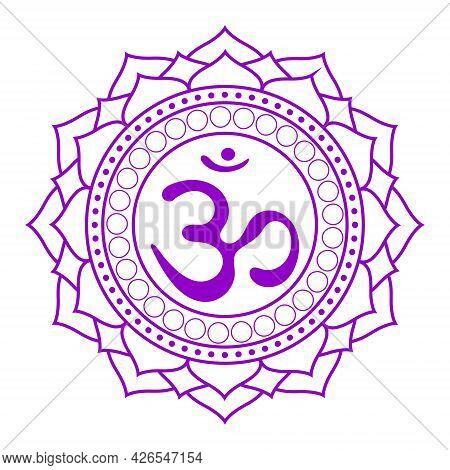 Line Drawing.the Seventh Chakra Sahasrara. The Crown Or Highest Chakra With Hindu Sanskrit. Purple I