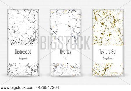 Distress Grunge Texture Set. Seamless Pattern. Scratched, Dirt Print. Halftone Retro Background. Bro
