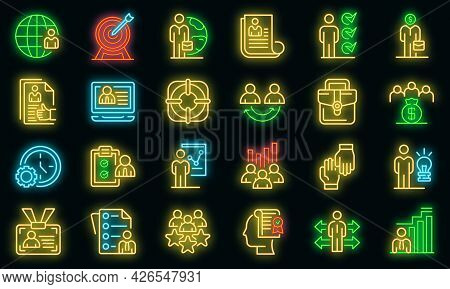 Outsource Icons Set. Outline Set Of Outsource Vector Icons Neon Color On Black