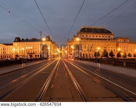 Legion Bridge Most Legii And Narodni Divadlo National Theater In Prague, Czech Republic Illuminated