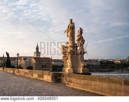 Saint Francis Borgia Statue On Charles Bridge, Prague, Czech Republicmade By F. M. Brokoff In 1710.