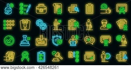 Quality Assurance Icons Set. Outline Set Of Quality Assurance Vector Icons Neon Color On Black