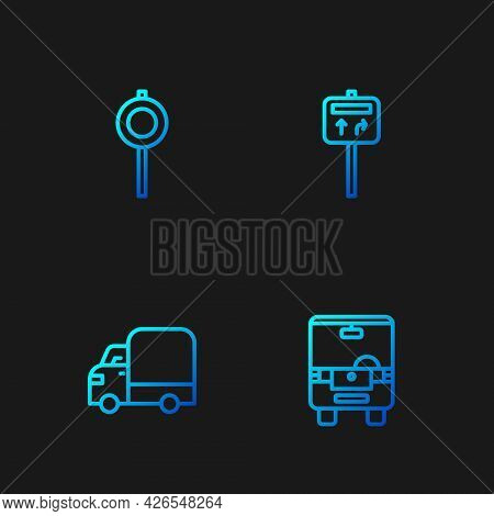 Set Line Bus, Delivery Cargo Truck, Road Traffic Signpost And . Gradient Color Icons. Vector