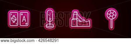 Set Line Tarot Cards, Tree, Water Slide And Lollipop. Glowing Neon Icon. Vector
