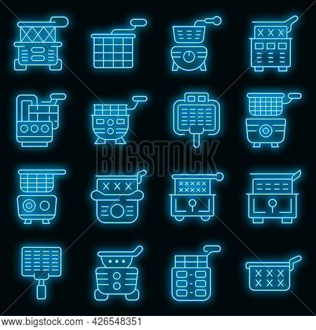 Deep Fryer Icons Set. Outline Set Of Deep Fryer Vector Icons Neon Color On Black