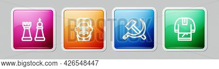 Set Line Chess, Joseph Stalin, Hammer And Sickle Ussr And Kosovorotka. Colorful Square Button. Vecto