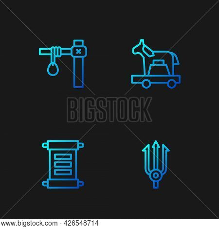 Set Line Neptune Trident, Decree, Parchment, Scroll, Gallows And Trojan Horse. Gradient Color Icons.