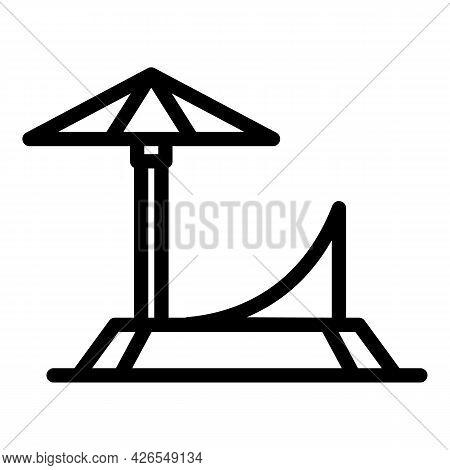 Chaise Lounge Icon Outline Vector. Beach Deck Chair. Summer Longue