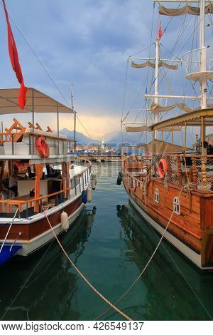 Photo Taken In Turkey. The Picture Shows Pleasure Yachts Moored In The Old Port Of Antalya.