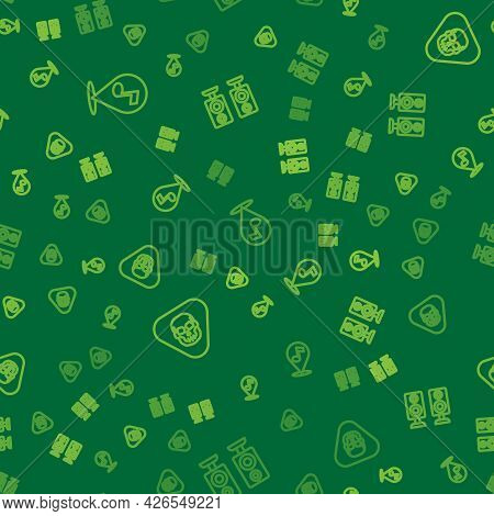 Set Line Location Musical Note, Guitar Pick And Stereo Speaker On Seamless Pattern. Vector