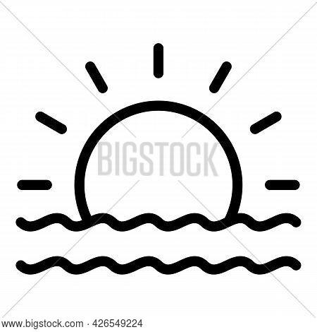 Sea Sunrise Icon Outline Vector. Beach Sunset. Sun Sky Landscape