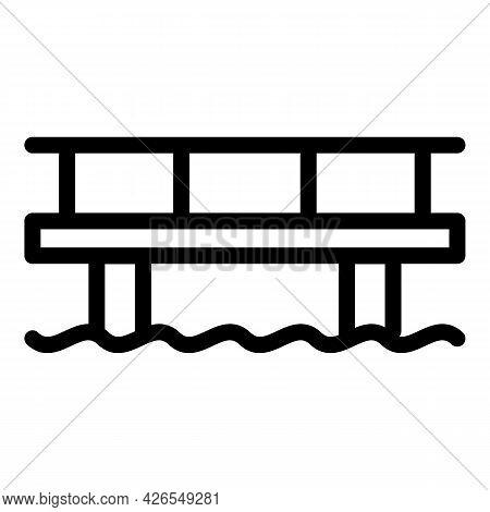 River Bridge Icon Outline Vector. Sea Construction. Ocean Road Building