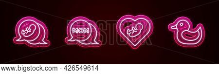 Set Line Baby, Speech Bubble Mom, Inside Heart And Rubber Duck. Glowing Neon Icon. Vector