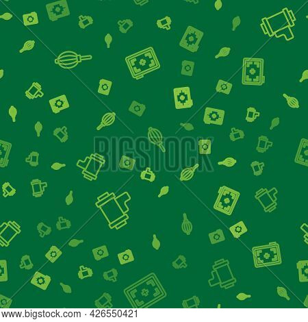Set Line Dust Blower, Camera Roll Cartridge And Photo Camera On Seamless Pattern. Vector