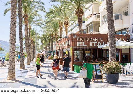 Calpe Spain- August 24 2016; Typically Mediterranean Street In Tourist Coastal Town People Waliking