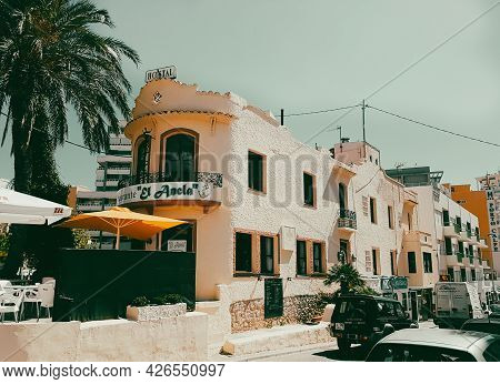 Calpe, Alicante, Spain- August 23 2016; Retro Vintage Style Typical European Restaurant El Ancla Wht