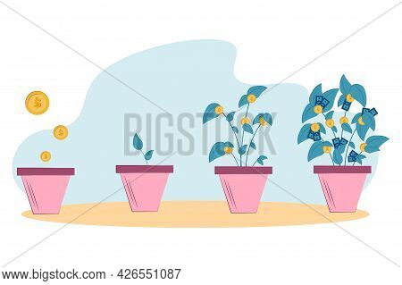 Phased Growth Of A Money Tree From Gold Coins In A Pot. Business Investment And Income Growth Concep