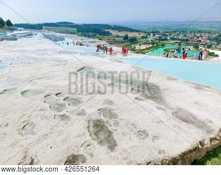 Goynuk, Antalya, Turkey - May 11, 2021: Travertines In Turkey. Calcite Cliff Of Pamukkale At Sunny D