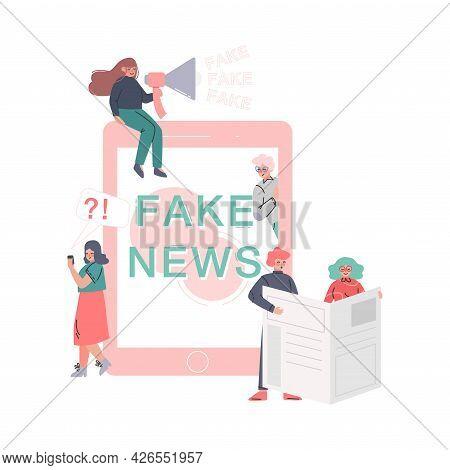 People Creating And Disseminating Fake News, Mass Media Propaganda, Untruth Information Spread Carto